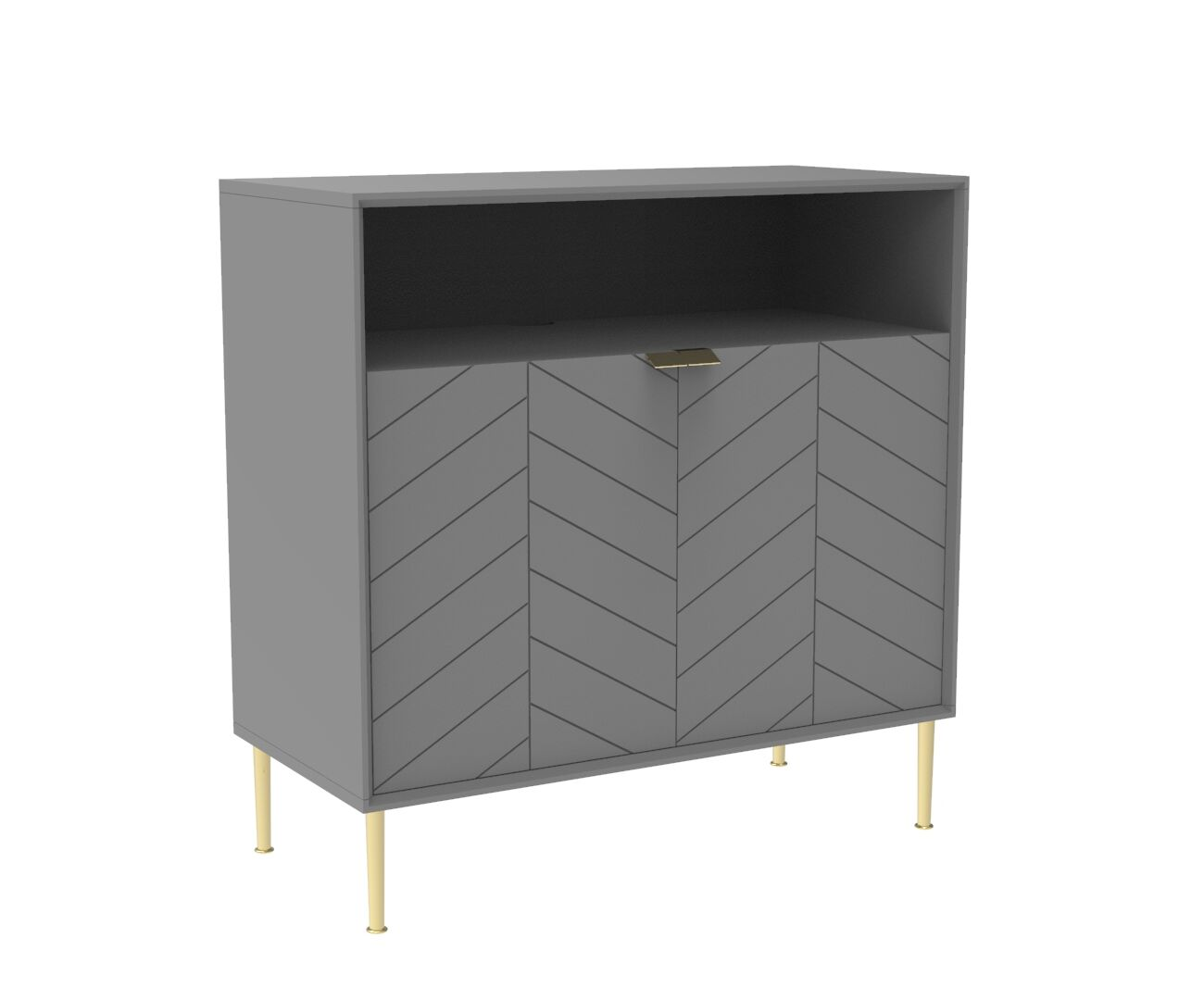 Chevron-patterned Adele Cabinet in Mist Grey and Brass