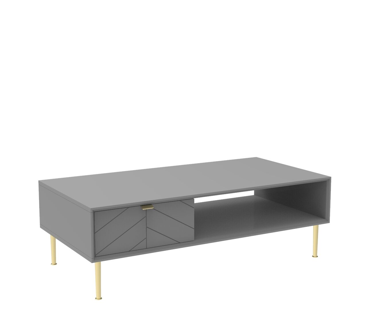 Chevron-patterned Adele Coffee Table in Mist Grey and Brass