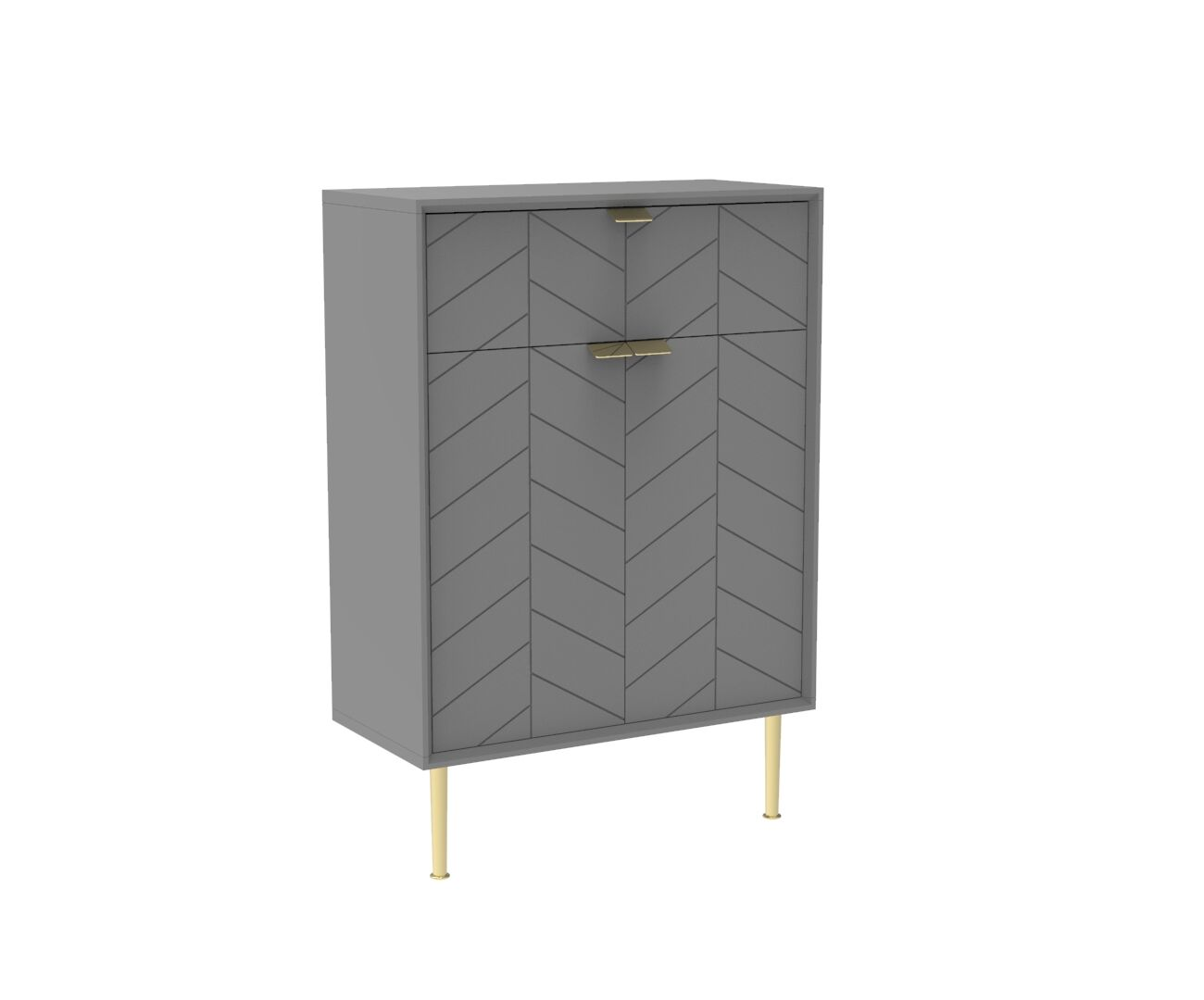 Chevron-patterned Adele Compact Bureau in Mist Grey and Brass