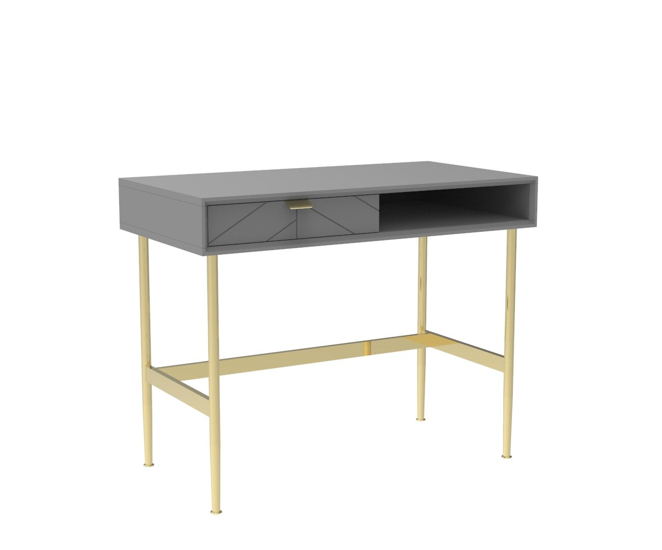 Chevron-patterned Adele Compact Desk in Mist Grey and Brass
