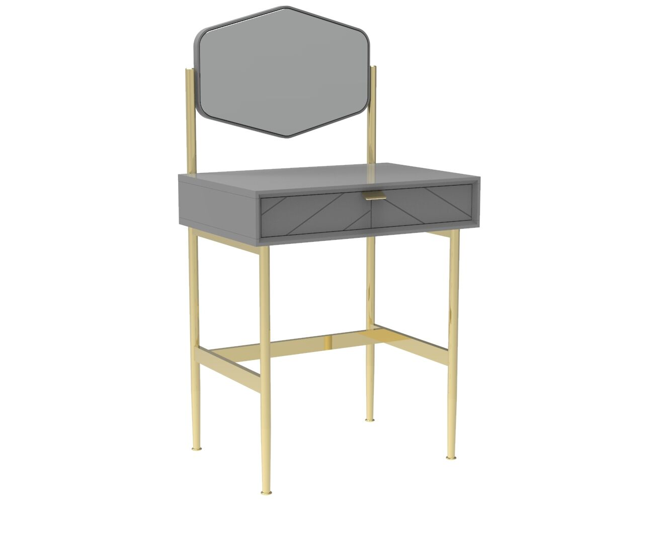 Chevron-patterned Adele Compact Dresser in Mist Grey and Brass