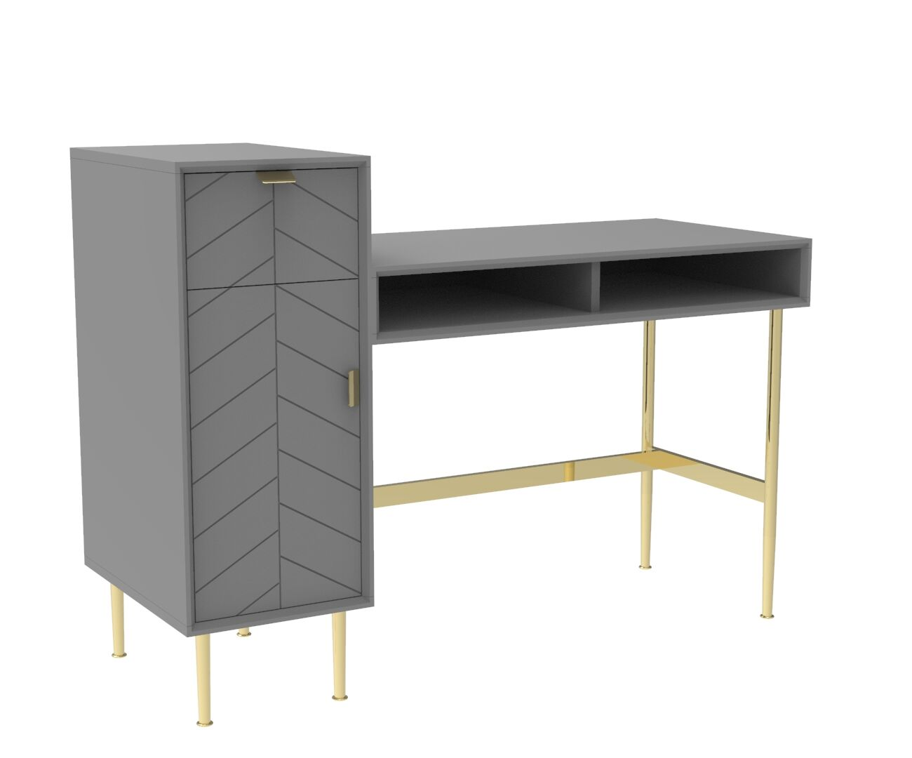 Chevron-patterned Adele Desk with Storage Space, in Mist Grey and Brass