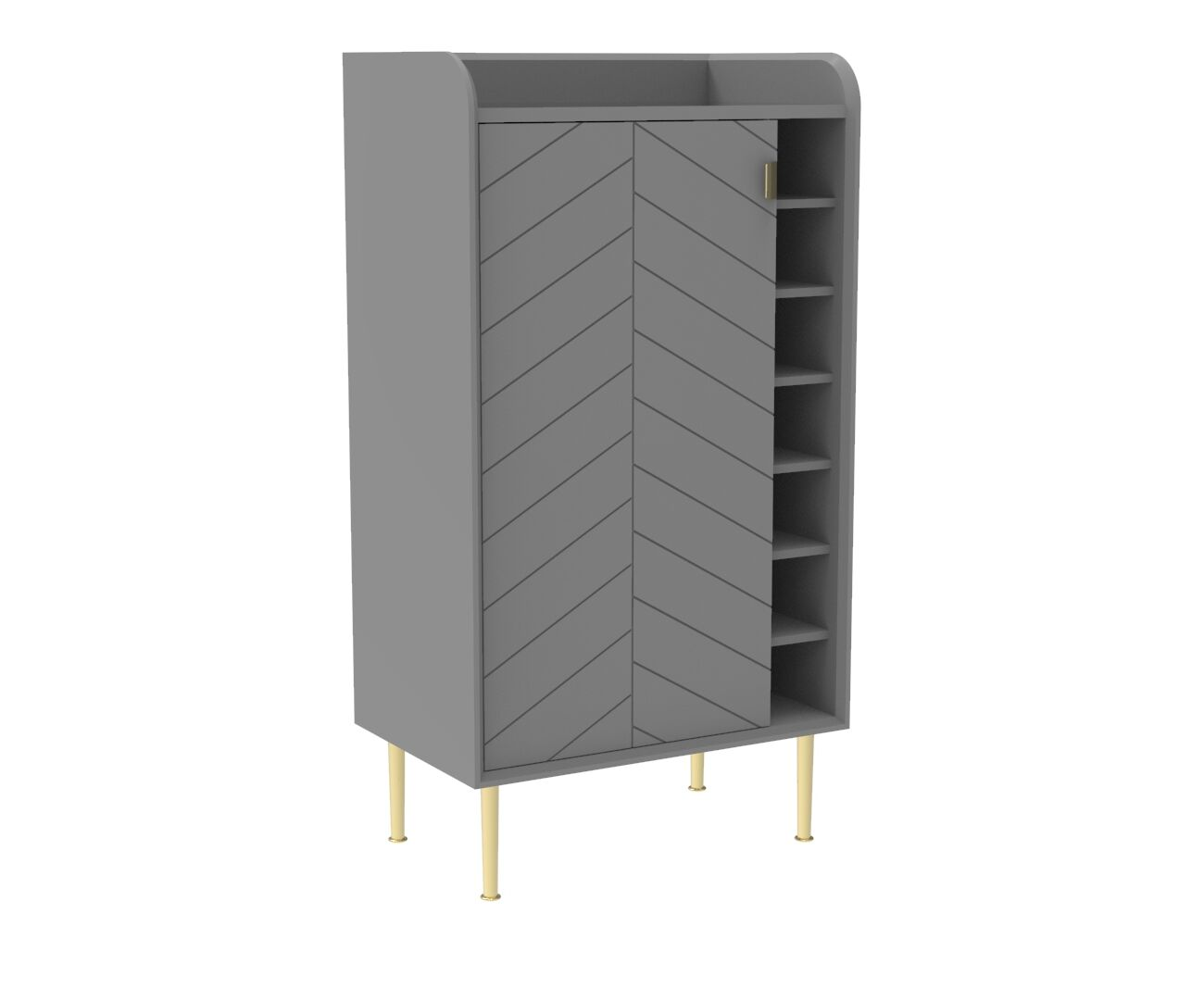 Chevron-patterned Adele Drinks Cabinet in Mist Grey and Brass