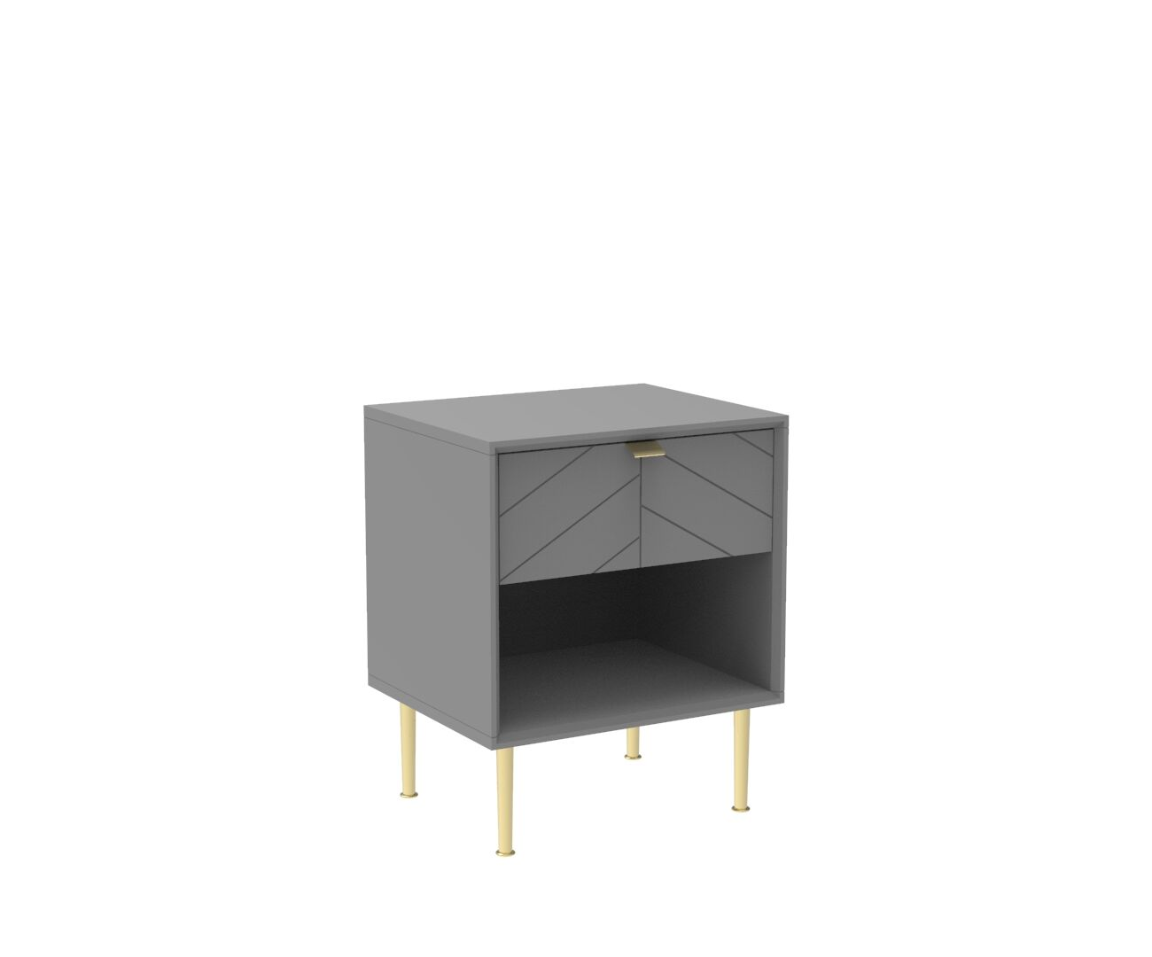 Chevron-patterned Adele Side Table in Mist Grey and Brass