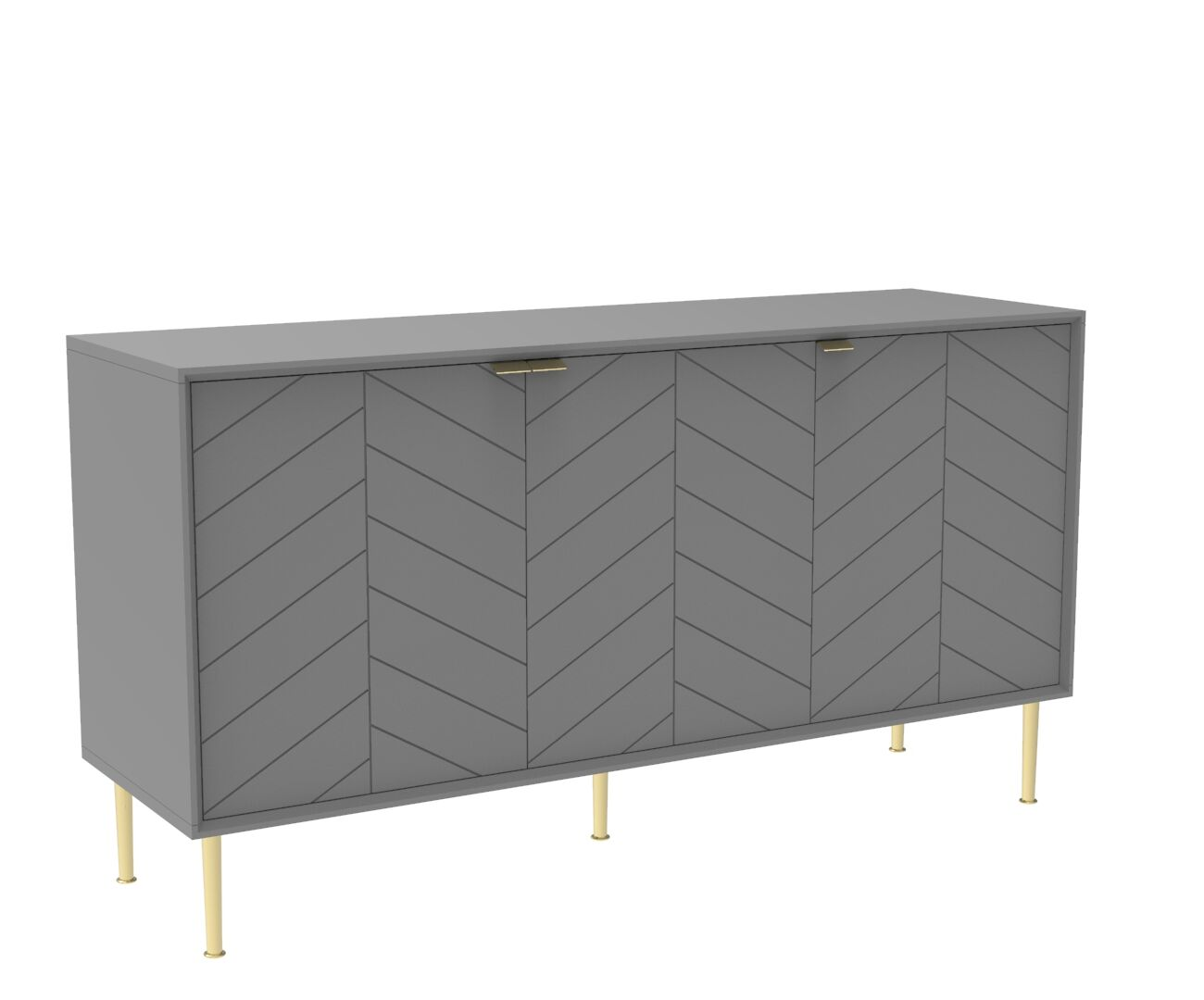 Chevron-patterned Adele Sideboard in Mist Grey and Brass