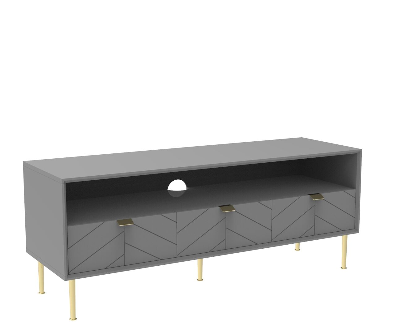 Chevron-patterned Adele TV Unit in Mist Grey and Brass