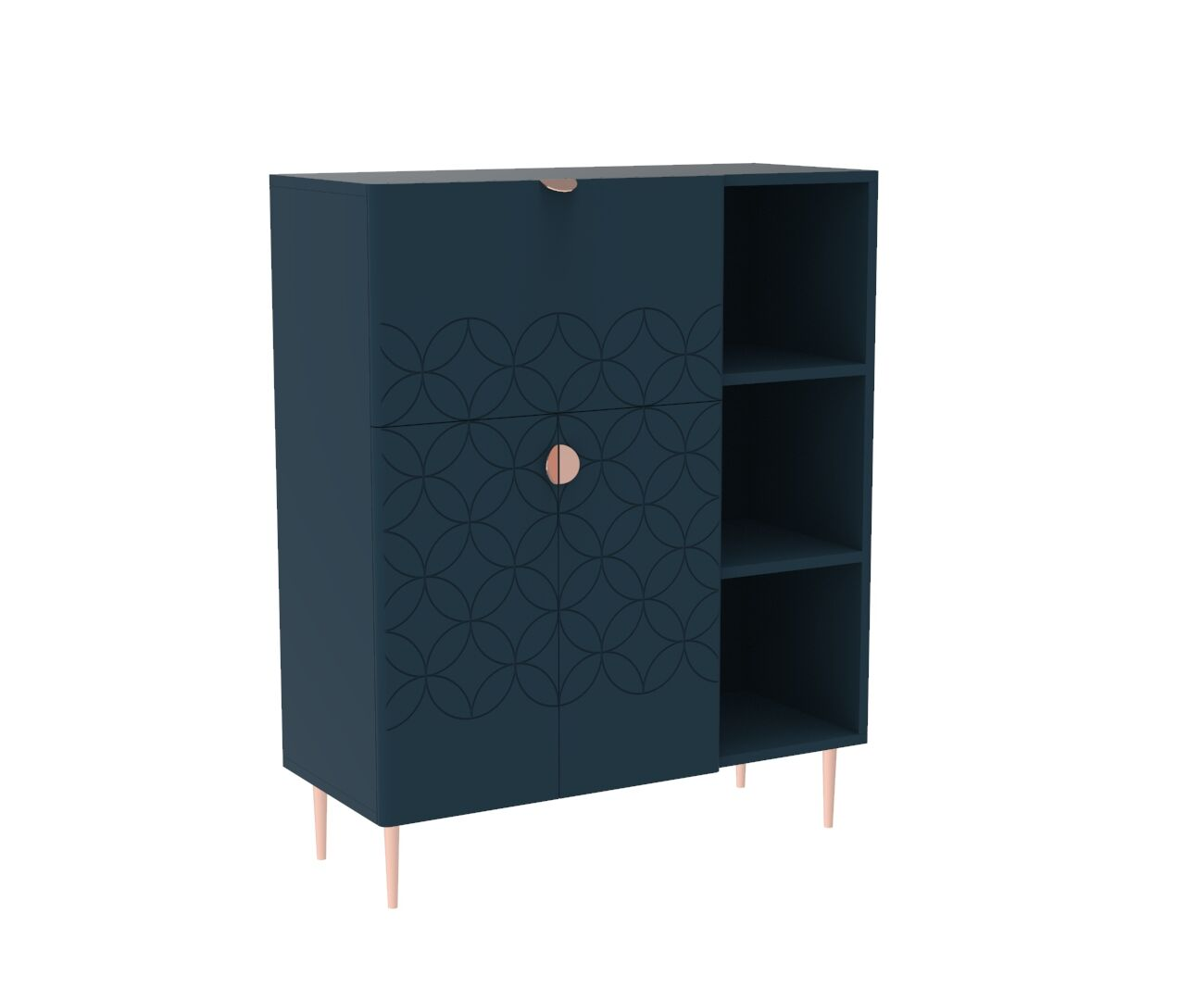 Mid Century Modern Ami Compact Bureau in Regal Blue and Copper