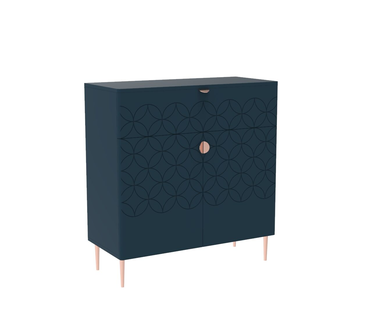 Mid Century Modern Ami Cabinet in Regal Blue and Copper
