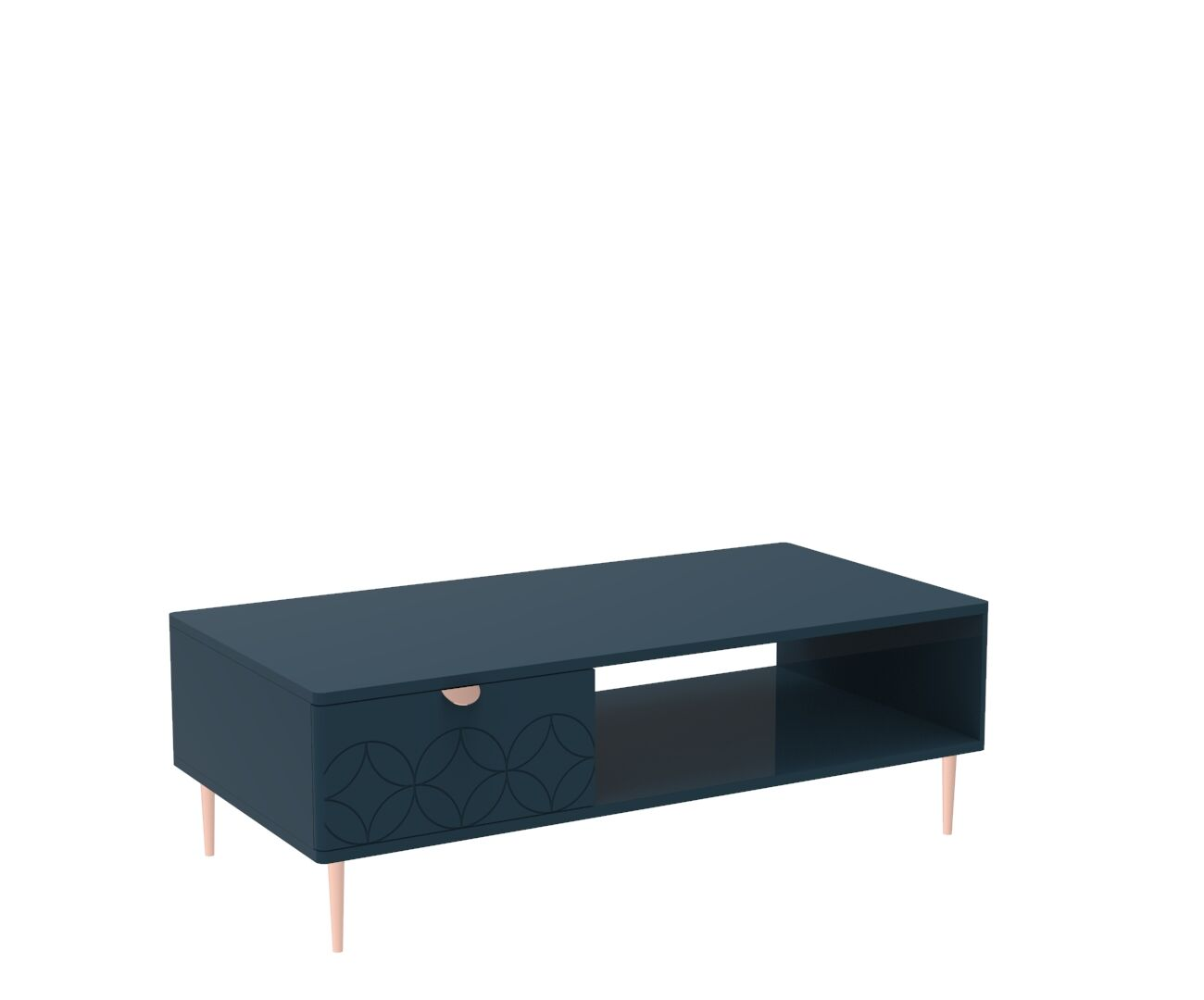 Mid Century Modern Ami Coffee Table in Regal Blue and Copper