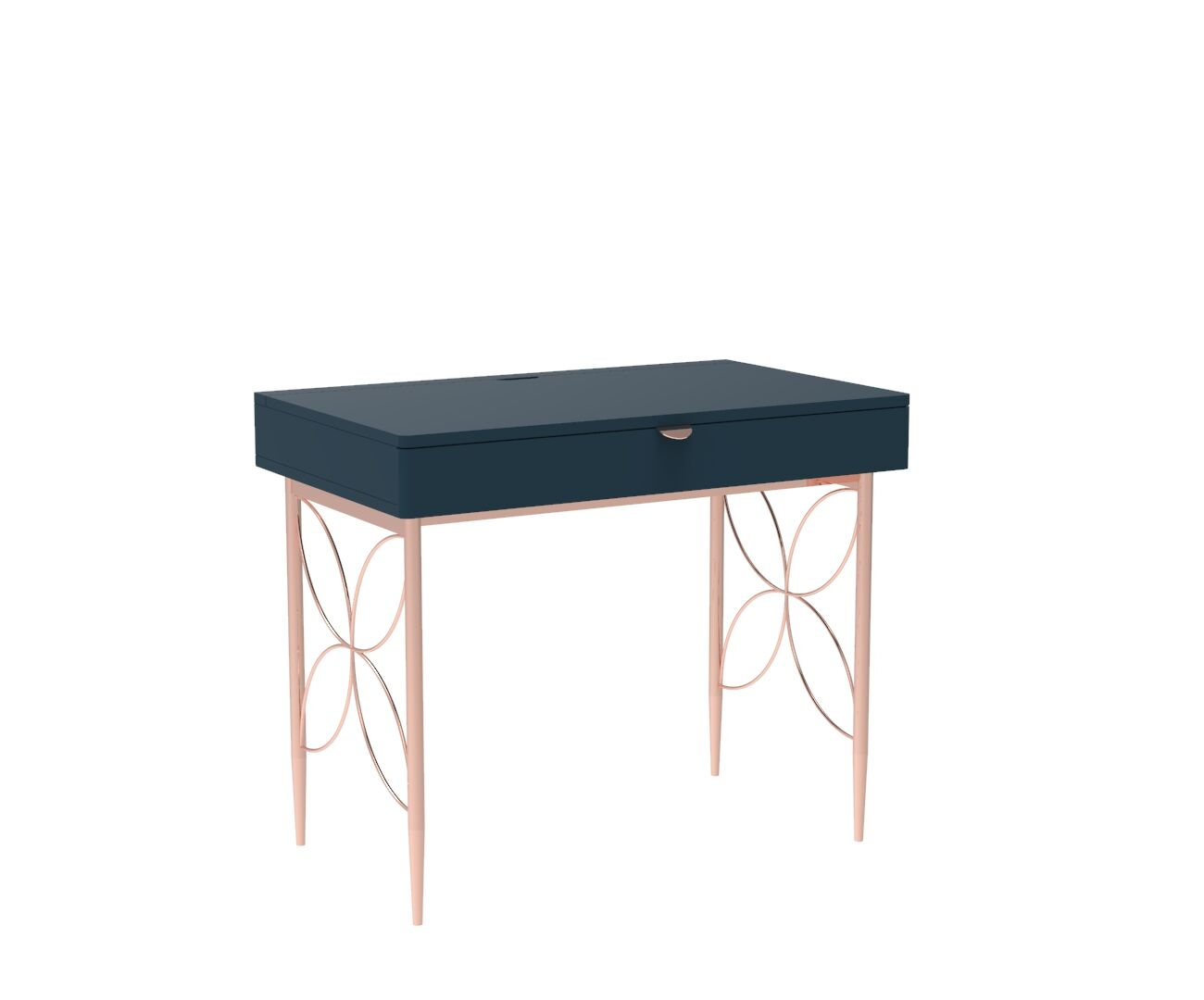 Mid Century Modern Ami Compact Desk in Regal Blue and Copper