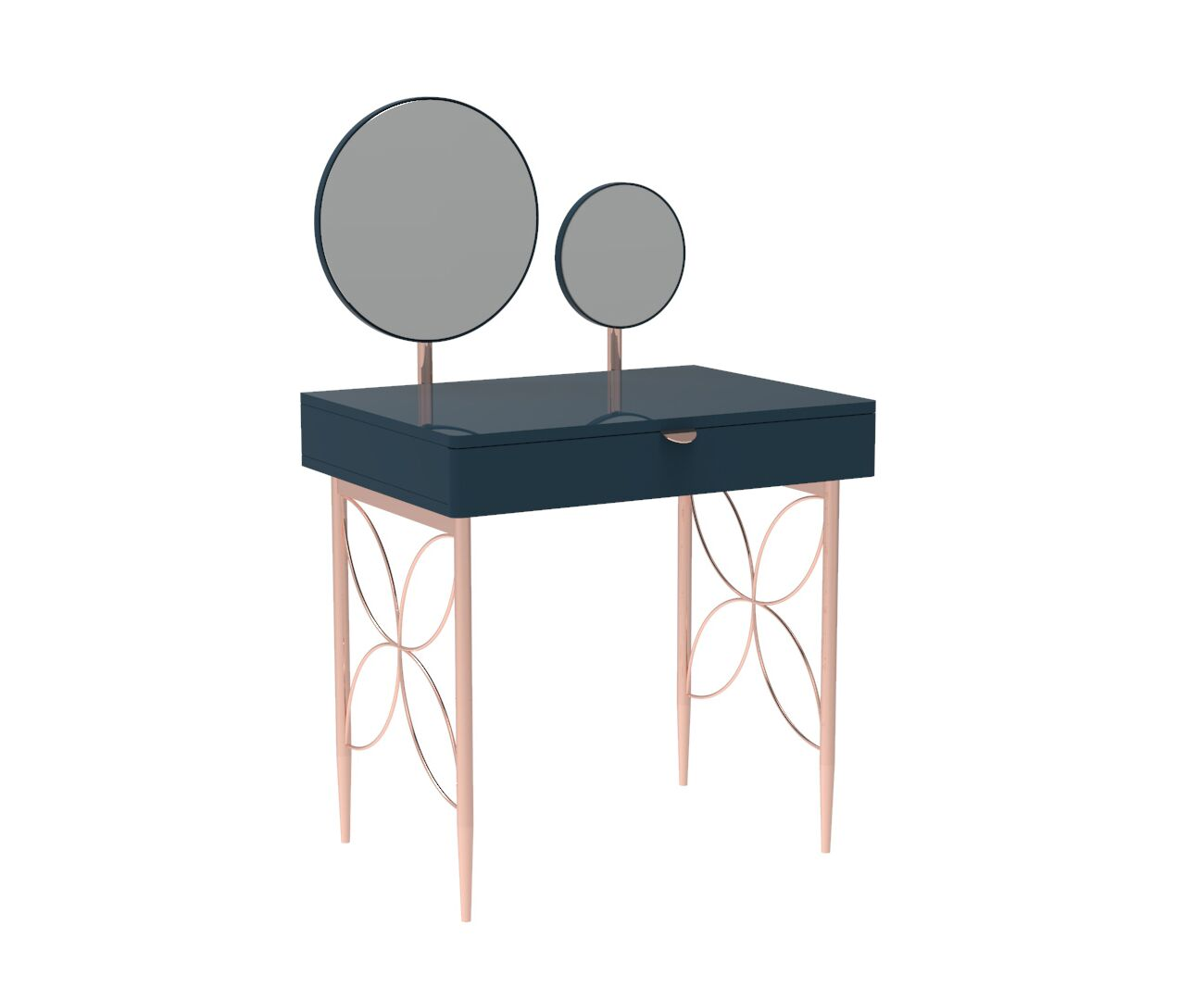 Mid Century Modern Ami Compact Dresser with Two Mirrors in Regal Blue and Copper