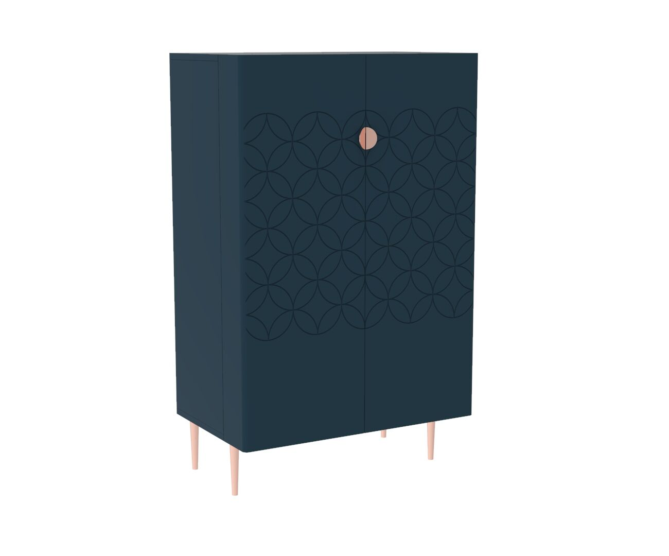 Mid Century Modern Ami Drinks Cabinet in Regal Blue and Copper
