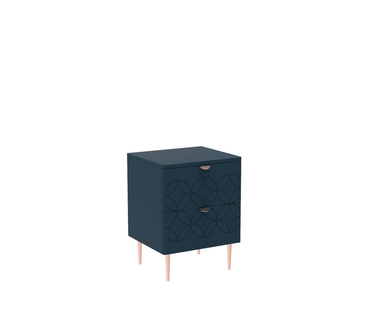 Mid Century Modern Ami Side Table in Regal Blue and Copper