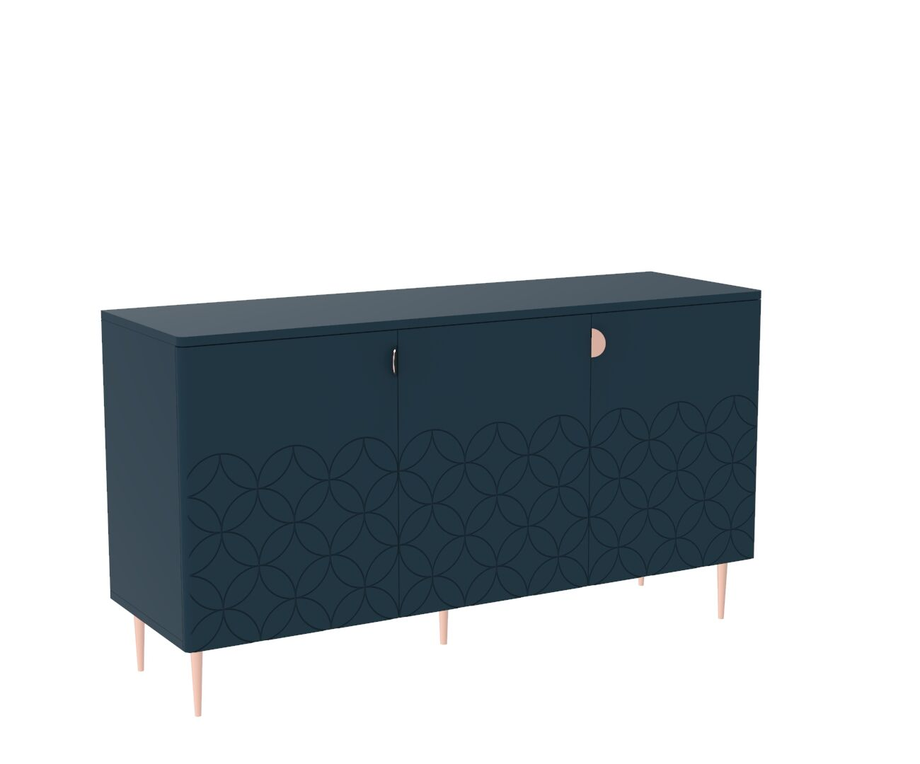Mid Century Modern Ami Sideboard in Regal Blue and Copper
