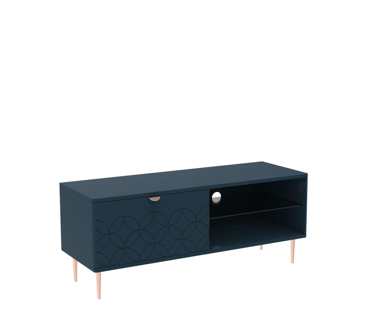 Mid Century Modern Ami TV Unit in Regal Blue and Copper