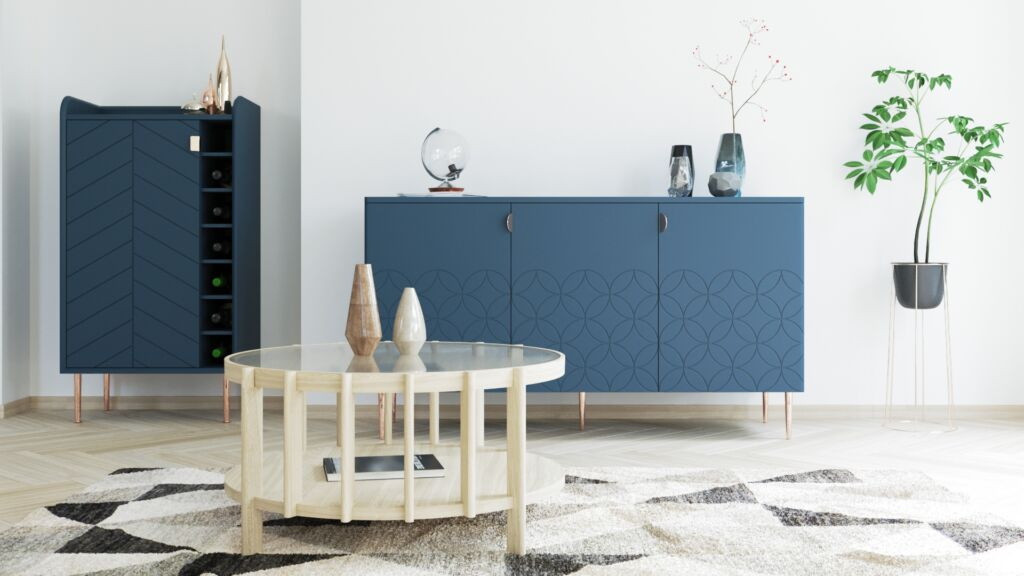 Living Room with Eiko Coffee Table, Adele Drinks Cabinet and Ami Sideboard