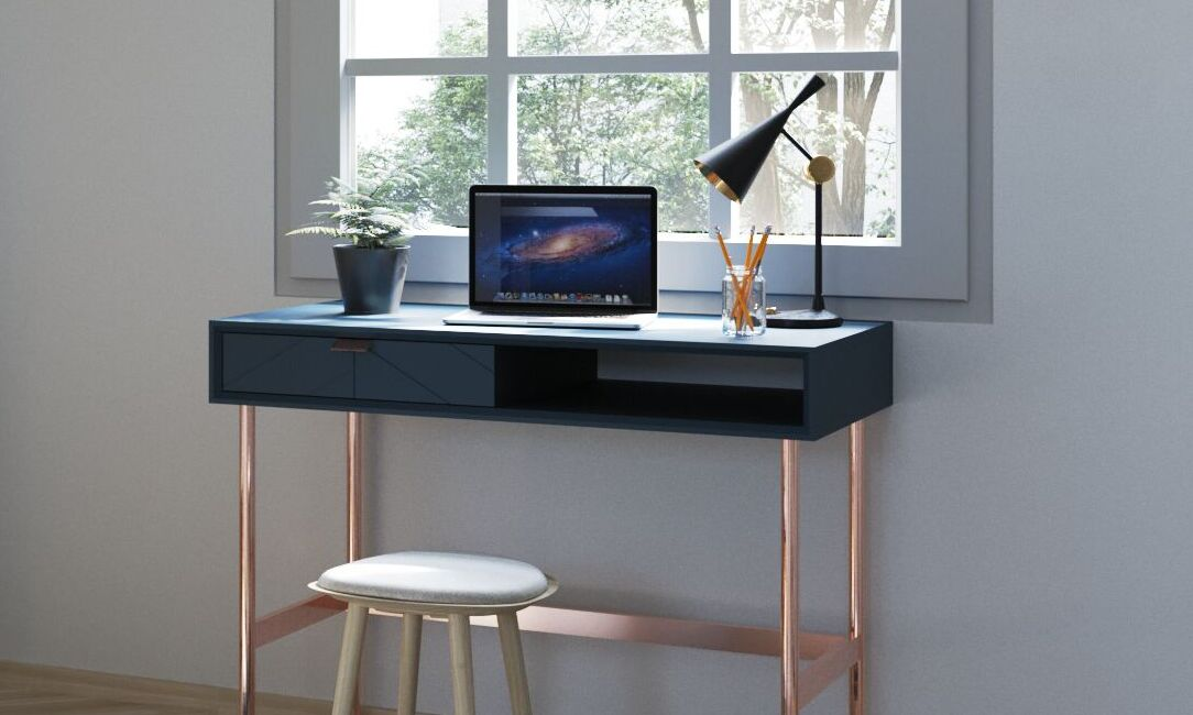 Chevron-patterned Adele Compact Desk for the Home Office